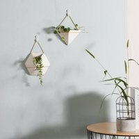Ceramic Green Plant Pots Indoor Wall Succulents Planters Han...