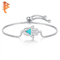 BELAWANG Blue Opal Bracelets For Women Hand of Fatima Silver...