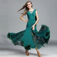 Freies Verschiffen-Grün-Erwachsener / Mädchen-Ballsaal-Tanz-Kleid-moderner Walzer-Standardwettbewerb-Praxis-Tanz-Kleid V-Kragen Sleevless Spitzenkleid