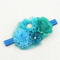 8pcs arco de la cinta Jin Bianhua perlas rosas de diamantes pelo banda de gasa de flores roto Infantil hebilla HD072