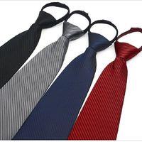 9cm Zipper Tie Men's Business Necktie Zip Poliéster Cuello Corbata Negro Rojo Azul ASCOT EQUIPO DE LA SALIDA DE SEGURIDAD DE SEGURIDAD DE SALIDA 4 UNIDS / LOT