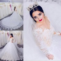 2018 New Lace Appliques A- line Wedding Dresses Illusion Bodi...