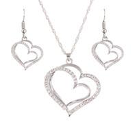 Çift Kalp Küpe Kolye Altın Gümüş Renkler Şeftali Kalp Şeklinde Kolye Küpe Seti Kadınlar Düğün Takı Setleri