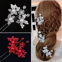 8 Photos Wholesale orchid pins for sale - Elegant Wedding Bridal Hair  Accessories Pearls Orchid U Pins Women e924d7a2db5a