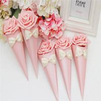 Rosas coloridas sorvete Flores Cone forma doce caixa de Doces embalagem doces sacos de casamento caixa de doces frete grátis