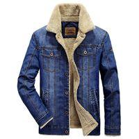 2019 M-4XL uomini giacca e cappotti caldi giacca di jeans abbigliamento Moda uomo jeans giacca spessa caldo inverno outwear maschio cowboy YF055