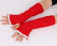 الدانتيل المرأة قفازات متماسكة الذراع تدفئة إمرأة أصابع متماسكة قفازات المعصم الشتاء السيدات طويل أصابع الذراع تدفئة قفازات 7 ألوان