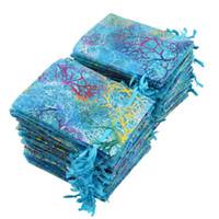 100 adet Mavi Mercan Organze Çanta 9x12 cm Küçük Düğün Hediye Çantası Sevimli Şeker Takı Ambalaj Çanta İpli Kılıfı