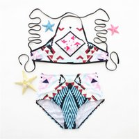 Senhora Biquíni Polyster Cintura Alta Mulher Swimsuit Push Up Top Swim Shorts Imprimir Femme Swimwear Banho De Duas Peças Ternos 20ht V