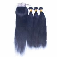 Paquetes de cabello azul recto con cierre de encaje Extensiones de cabello humano de Virgin Blue con cierre de encaje 4x4 Ofertas de paquete de 3 azul con cierre de encaje