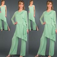 Moderne Sage Mutter der Braut Hose Anzüge Benutzerdefinierte Lange Ärmel 3 Stücke Chiffon Mutter Hosen Anzüge Formelle Kleidung