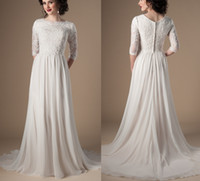 Ivory Champagne Modest Wedding Dresses With 3 4 Sleeves Bead...