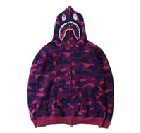 Wholesale Men Shark Print Hooded Hoodies Teenager Animal Cam...