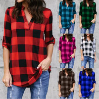 Plaid Women T Shirts Summer Loose Tops Women Lady Sexy V Nec...