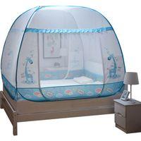 Red de mosquitos de 1.8 m de gran tamaño para cama doble Cama de niños de dibujos animados con toldo inferior, dos puertas tienda de malla toldo de malla portátil de viaje