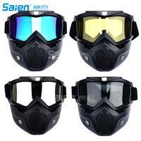 Gafas de motocicleta Máscara desmontable, estilo Harley Proteger acolchado Casco Gafas de sol, montar en carretera Gafas de moto UV