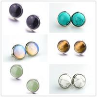Pierre naturelle 8mm 10mm 12mm blanc vert Turquoise opale rose cristal pierre Druzy stud boucles d'oreilles bijoux pour les femmes