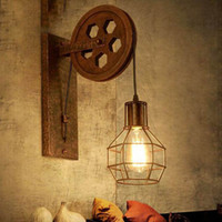 CE Loft retro lamp creative lifting pulley wall light dining...