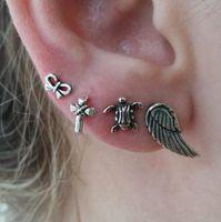 2018 новый 4 шт. старинные женщин сплава серьги набор Черепаха крест Ангел крыло мода уха Гвоздика ювелирные изделия