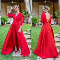 2019 Elegant New Red Jumpsuits Prom Dresses 3 4 Long Sleeves...