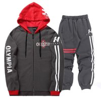Bodybuilding Men Set Autumn Sweatshirt Mens Tracksuit +Pants 2018 OLYMPIA  Sportswear Man 2PCS Stand Collar Hoodie Jacket