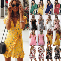 night club dresses Womens Floral Clubwear Wrap Dress Ladies Deep scollo a V Ruffles Beach Mini Dress Regno Unito