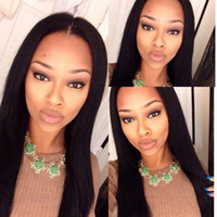 Human Hair Silky Straight Front Lace Wigs For Women with 10-...
