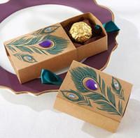 Europäisches Design Pfauenfeder Süßigkeiten Box Kraftpapier Hochzeitsbevorzugung Geschenkverpackung für Süßigkeiten Tee Dim Sum LX3940