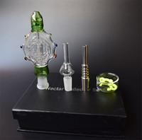 Clear / azul / preto / verde Nectar Collector 3.0 Perc Pingente Wearable vidro Pipes 14 milímetros de titânio prego Nectar Collector