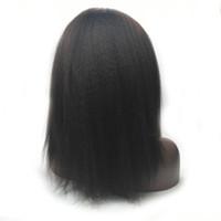 130% Densité Suisse Dentelle Couleur Naturelle Remy Vrigin Cheveux de Bébé à la Main Kinky Staight Perruque Brésilienne Avant de Lacet Cheveux Humains
