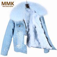 Abrigo con gran cuello de piel de mapache Piel real de la guarnición de la chaqueta de calidad superior nueva parka de invierno de las mujeres