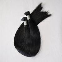 Saç Uzatma prebonded Fusion Düz Saç 200strands içinde 1g 200g paket I / U / Düz Tip Keratin Çubuk Hint İnsan Saç, DHL paketi
