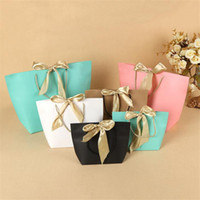 5 colors Paper gift bag with ribbon handle color garment bag...