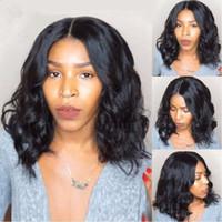 흑인 여성용 중간 부분 짧은 곱슬 전체 레이스 인간의 머리 가발 브라질 버진 머리카락 glueless 짧은 밥 물결 모양의 레이스 프론트 가발