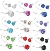 Strass Schmuck Set Mix Farben Runder Kristallkugel Anhänger Ohrringe Bolzen Halskette Set für Frauen Großhandel