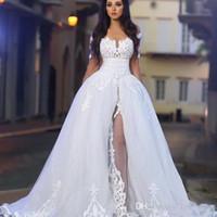 Nuovo plus size Illusion Overskirts Abiti da sposa con maniche lunghe Abiti da sposa stile country con spalle scoperte