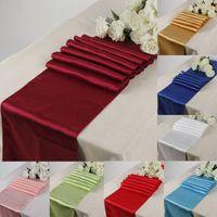 Satin Chemin de Table 30cm * 275cm décoration de mariage Table Centerpieces Supply Party Décor Décoration de Noël Chiffons vacances Tablecloth