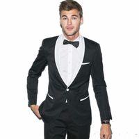 Deux morceaux bon marché noir smoking sminedos slim goomsmen costume blanche châle revers le meilleur homme costume costume Mens de mariage (veste + pantalon + cravate)