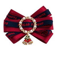 Christmas Bowknot Brooches For Women Luxury Pearl Pin Knitte...