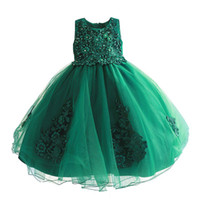 childrens green beaded evening princess dresses kids party c...