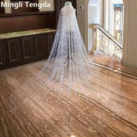 2018 Nouveau voile de mariage avec peigne 3.5m * 3m de long cathédrale élégante voile coupé bordée voiles de mariée deux couches Velos De Novia Appliques Mingli Tengda