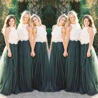 Duas Peças de Estilo Country Vestidos de Dama de Honra 2018 Lace Applique Top Lace Verão Jardim Do Partido Do Casamento Vestido Barato Tulle Maid Of Honor Vestidos