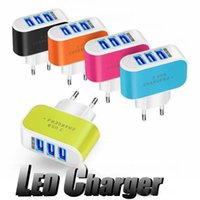 US EU Plug 3 USB Wall Chargers 5V 3. 1A LED Adapter Travel Co...