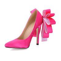Satin Frauen Pumpen Frühling Hochzeit Brautschuhe spitz Günstige Modest 12cm Frauen Schuhe High Heel Bow Show Fashion Pump
