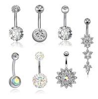 7 pçs / lote unhas umbilical Nails Nails Defina Body Piercing Aço Inoxidável Cristal Botão de Cristal Anéis para mulheres Pierced Jewelr Kit Atacado