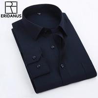 2016 New Arrival Homens Camisas Casual Moda Masculina Pure Color Slim Fit algodão de manga longa de abertura de cama Collar Shirt Tamanho XS- 5XL M001