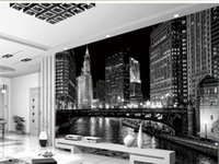 Custom 3D Mural Wallpaper Black And White City Night Landsca...