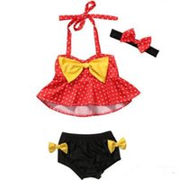 Lovely Baby girl Swim wear Bikini sets with headband Dots Pr...