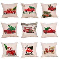 Merry Christmas Jubilation Fronha de Árvore Carro Padrão de Impressão Digital Capa de Almofada Dos Desenhos Animados Ornamento Home Decor Pillowslip