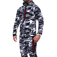 2018 Hooded Zipper Camouflage Running Jacket Men Plus Size C...